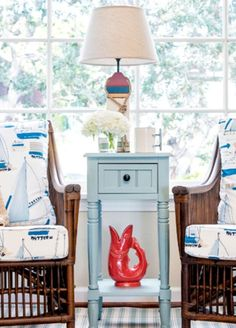 Nautical Den with Charming Buoy Table Lamp: http://www.completely-coastal.com/2016/04/nautical-buoy-lamps.html Shop the Look!