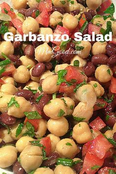 Amazing Garbanzo BeanChickpea (Chickpea) & Tomato Salad A super healthy, delicious and great make ahead recipe using garbanzo beans (chick peas), beans and a great herb dressing. The parsely with the mint makes this a great combination for any side dish Garbanzo Bean Recipes, Cooking Garbanzo Beans, Chickpea Recipes, Diet Recipes, Vegetarian Recipes, Cooking Recipes, Healthy Recipes, Cooking Games, Cooking Classes