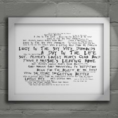 The Beatles Sgt. Pepper's Lonely Hearts Club Band  limited edition typography lyrics art print, signed and numbered album wall art poster available from www.lissomeartstudio.com