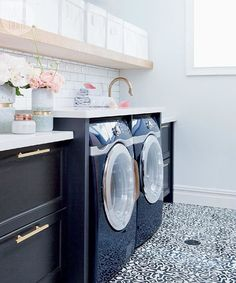 If you think there's no hope for your dreary laundry room, prepare to be inspired: This dreamy space wasn't always so bright and welcoming. See the before and after photos at Interiors > Laundry Room > Chic and Dreamy Basement Laundry Room {Photo by: @ashleycapp | Design: @thecuratedhouse}