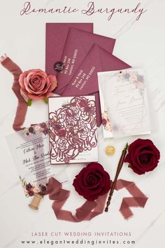 Romantic burgundy wedding invites for elegant fall wedding ideas