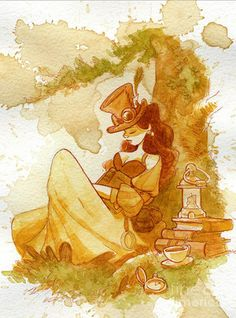 Steampunk chicks drawn by Disney artist Brian Kesinger! Sweet outfit.