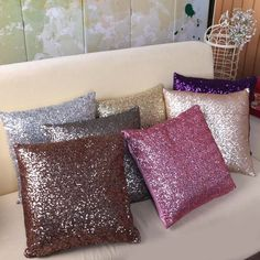 1Pc Color Sequins Throw Pillow Home Car Use Sofa Decoration Waist Cushion Cover #ebay #Home & Garden