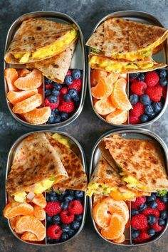 Ham, Egg and Cheese Breakfast Quesadillas - Meal prep ahead of time so you can have breakfast done right every morning! Less than 300 calories per serving! recipe meal prep Ham, Egg and Cheese Breakfast Quesadillas Easy Healthy Meal Prep, Healthy Breakfast Recipes, Easy Healthy Recipes, Healthy Drinks, Breakfast Ham, Healthy Snacks, Breakfast Ideas, Eating Healthy, Meal Prep For Breakfast
