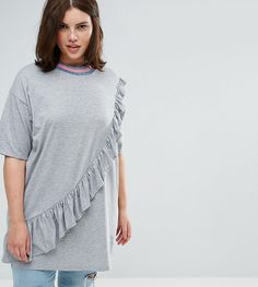 3e5e30ca76ae4 ASOS CURVE Ruffle Tunic with Neck Trim - Multi Asos Curve