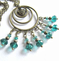 Jewelry set. Teal necklace and teal earrings by romanticcrafts, $22.00