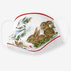 Christmas Forest Friends Bunny Chickadee Cloth Face Mask Christmas Gifts For Her, Christmas Holidays, Merry Christmas, Christmas Artwork, Forest Friends, Sensitive Skin, Bunny, Delicate, Face Masks