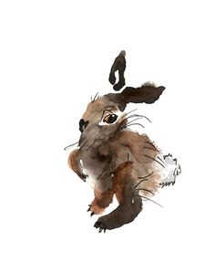 Brown Bunny Rabbit Print From Original Watercolors, Brown Rabbit Art Print, Bunny Nursery Art, Rabbit Wall Art Print, Brown Tones Wall Art