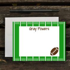 Football Thank You Notes / Kids Personalized Stationery Set / Personalized Note Cards for Boys (Item #1510-009FL)