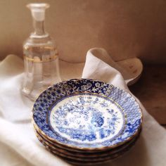 French Antique Porcelaine Saucers. Blue & White by LaClariere