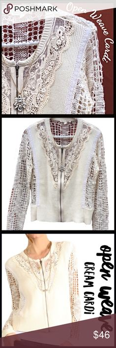 Lightweight Open Weave Cardi This Lightweight Open Weave Cardi is has exquisitely detailed crocheted lace on the front; Bronze toned zipper pull; versatile, very high quality cardigan.PRICE IS FIRM UNLESS BUNDLED; NO TRADES. Boutique Sweaters Cardigans