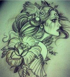 sake girl tattoo sketch