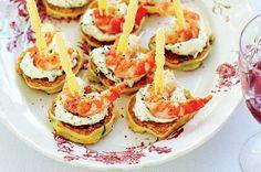 Corn blini with prawns http://www.taste.com.au/recipes/26211/corn+blini+with+prawns