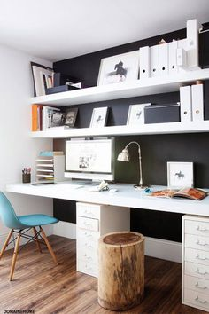 double desk home office or kid desk in playroom - Bureau Home Office Setup, Home Office Organization, Home Office Space, Office Workspace, Organizing Your Home, Home Office Design, Office Ideas, Office Playroom, Study Office