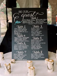 Be Our Guest seating chart. Disney inspiration for a fairytale wedding.