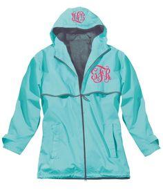 monogrammed rainjacket... too cute.