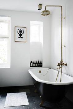 Bathroom - black and white, rolltop bath
