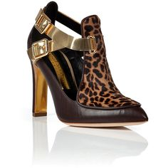 Rupert Sanderson Haircalf/Leather Cutout Ankle Boots ($332) ❤ liked on Polyvore featuring shoes, boots, ankle booties, animal print, high heel boots, cut out booties, animal print booties, short boots and cutout booties