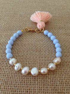 Pretty in Pearls Tassel Bracelet Powder Blue with by LovesAffect