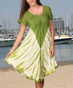 Another great find on #zulily! Green & White Tie-Dye Swing Dress #zulilyfinds