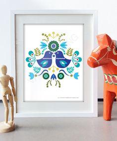 Art populaire scandinave printemps bleu amour par Illustrationpop