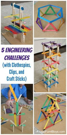 5 Engineering Challenges with Clothespins, Binder Clips, and Craft Sticks. Awesome STEM activity for kids! # home activities for kids boys 5 Engineering Challenges with Clothespins, Binder Clips, and Craft Sticks - Frugal Fun For Boys and Girls Kid Science, Stem Science, Science Activities, School Age Activities, School Age Crafts, Science Week, Science Crafts, Stem Activities For Kindergarten, Activities For 6 Year Olds