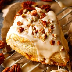 Should I ever make scones. Maple Nut Scones - these scones are so buttery, flaky and will melt-in-your-mouth! Topped with a luscious Maple Glaze and Chopped Pecans. Diner Recipes, Brunch Recipes, Baking Recipes, Breakfast Recipes, Scone Recipes, Free Recipes, Breakfast Pastries, Keto Recipes, Dessert Recipes