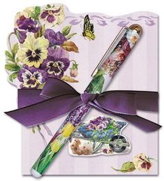 Pansy Die Cut Notepad and Pen - Roses And Teacups