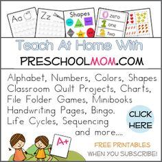 Hundreds of Free Preschool Printables at PreschoolMom.com