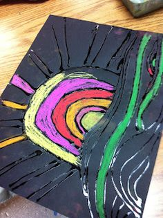 Love the gel glue on black, I've done black glue on white but this is cool! ChumleyScobey Art Room: Grade: Ted Harrison Landscape with Chalk Pastels Line Art Projects, Spring Art Projects, Animal Art Projects, Classroom Art Projects, Art Classroom, Artists For Kids, Art For Kids, Kid Art, 2nd Grade Art
