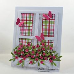 Come and see my pretty die cut window and window box full of flowers.    Card Making Ideas | Paper Crafts | Handmade Greeting Cards | Window Cards | Scene Cards Click on the picture if you would like to see how I made this card.