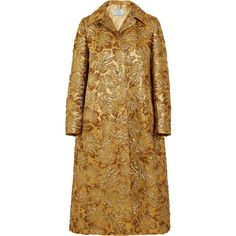 Prada Hooded metallic floral-jacquard coat ($3,960) ❤ liked on Polyvore featuring outerwear, coats, jackets, coats & jackets, gold, prada, jacquard coat, metallic coat, floral coat and pattern coat