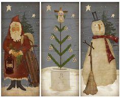 Primitive Christmas Trio Instant Download Print by MarysMontage, $4.00