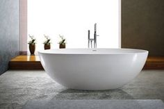"Adalina Solid Surface Modern Bathtub 71"""