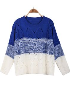 usually I'm not a huge fan of degradé sweters, but this one is perfection ... perfect for preppy style!!!  Blue Ombre Long Sleeve Hollow Knit Sweater 20.33