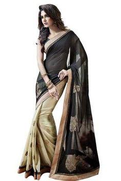 Moiaa Black and chiku color faux georgette designer saree