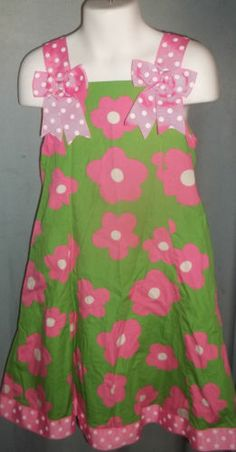 Green Pink Bonnie Jean Size 5 Girls Dress Nice Flowers Polka Dots Ribbons | eBay $4.99