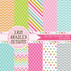Crochet Fun Digital Papers Polka Dots Chevron Stripes Pink Green Orange Blue Gray Digital Paper Pack Commercial Use INSTANT DOWNLOAD