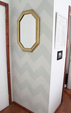 """I recently got the green light to paint our apartment. Its a lot to take on all at once, so I've been knocking it out in small chunks. This week, the entry way! After a debate of """"is the chevron look already over?,"""" I got to work.   One of my most important tools was a Conair MORE BIG CURLS box. You'll see why."""