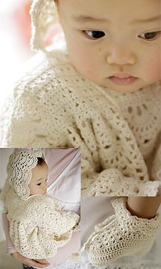 "Free pattern for this precious ""Baby Set""! pattern by Pierrot (Gosyo Co., Ltd)"