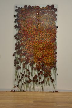 """Art & Installation - Anya Gallaccio - """"Preserve Beauty"""" (New York) 2003 - Gallaccio is known for her work with organic materials such as ice, flowers, fruits and sugar. Her installations often change over time as they melt, decompose or sprout new life. Sculpture Textile, Textile Fiber Art, Textile Artists, Sculpture Art, Art Floral, Instalation Art, Ephemeral Art, Textiles, Felt Art"""