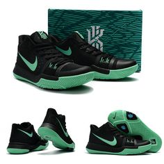 "February 17,2017 Shoes Nike Kyrie 3 ""Mint"" Black Green Glow"