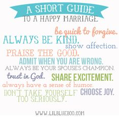 Keys to a happy marriage via lilblueboo.com