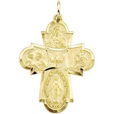 IceCarats 14K Yellow Gold 4 Way Cross Medal | Fashion | Accessories | Love | Gift | #IceCarats| See More - www.IceCarats.com