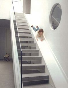 Staircase slide by London architect Alex Michaelis. Staircase slide by London architect Alex Michaelis. Stair Slide, Stairs With Slide, Indoor Slides, Escalier Design, House Stairs, Basement Stairs, Staircase Design, Modern Staircase, My Dream Home
