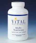Multi-Nutrients w/Iron and Iodine 180 Capsules by Vital Nutrients. $30.76. MULTI-NUTRIENTS WITH IRON AND IODINE is a high potency multi-vitamin/mineral and trace element formula. This formula is identical to Multi-Nutrients with the addition of iron and iodine.