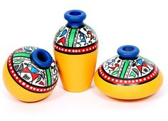 A very charming and ethinic bright yellow earthen miniatures set of 3 terracotta pots. In unique shapes with handpainting adorning the pots. The purple border on the top makes the set look elegant. Ideal decoration for the shelf or your side table. (There may be very MINOR VARIATIONS in color combinations and figure designs, between displayed and dispatched products, due to variety of artisans who handcraft the products. The look, feel and quality will , however, be consistent with what you…