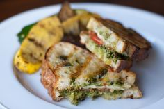Tomato, Mozzarella, & Pesto Paninis adapted from Ina Garten, The Barefoot Contessa at Home makes 6 sandwiches