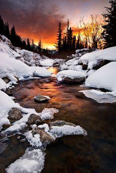 Freezing Creekbed by Bernie Zajac | AustralianLight, via 500px; Lake Louise, Alberta, Canada