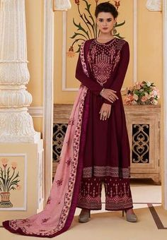 Organza Saree, Silk Dupatta, Latest Salwar Suits, Plazzo Suits, Suits Online Shopping, Muslin Fabric, Fabric Art, Maroon Color, Embroidered Silk